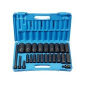 24 PC 1/2-Inch DRIVE DEEP GREY PNEUMATIC METRIC SOCKET SET