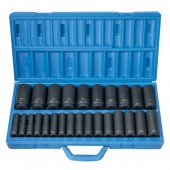"26 PC 1/2"" DRIVE DEEP GREY PNEUMATIC METRIC SOCKET SET"