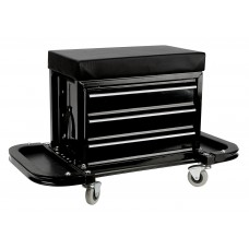 Performance Tool 3 Drawer X Frame Rolling Creeper Seat Toolbox PTW85025